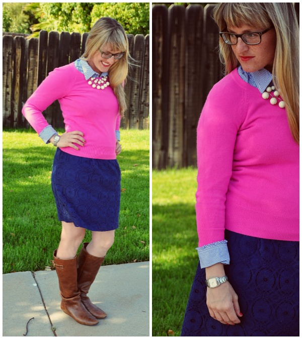 pink sweater blue skirt collage 1