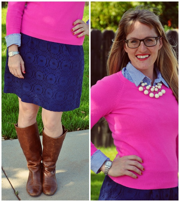 pink sweater blue skirt collage 2