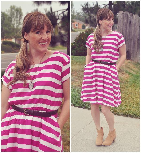 pink striped dress 1