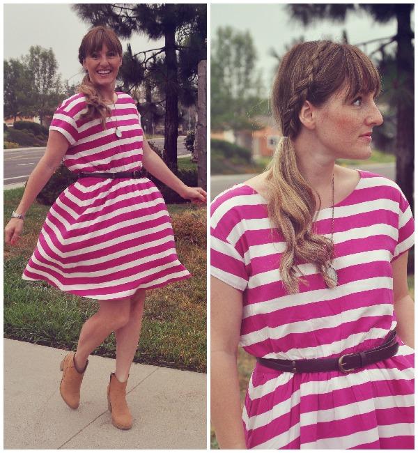 pink striped dress 2